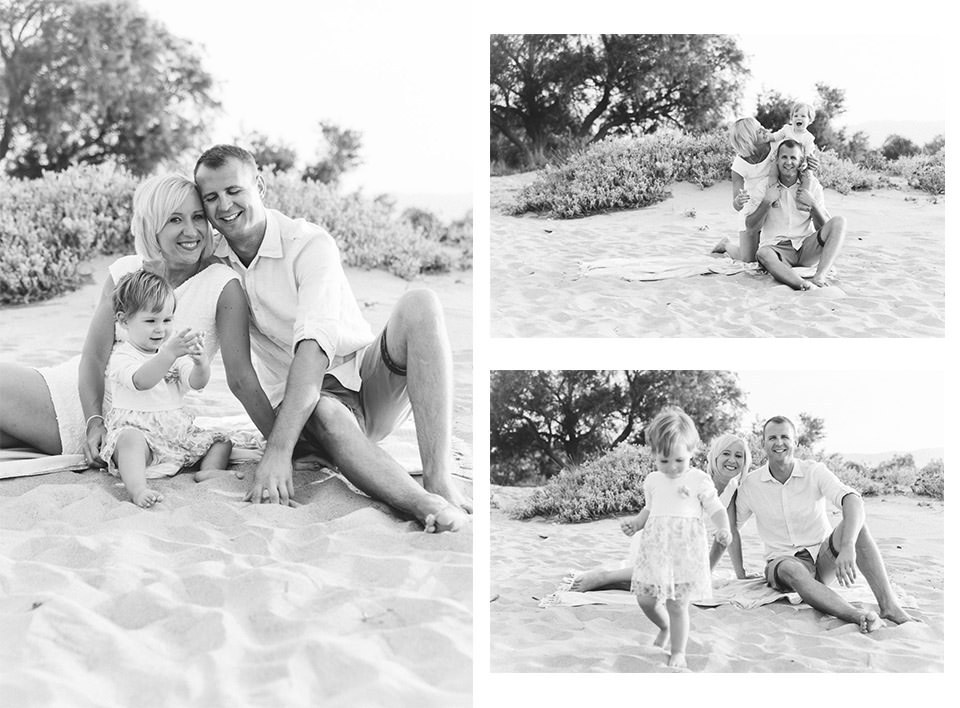 family photographer Crete a family on the beach with their kid